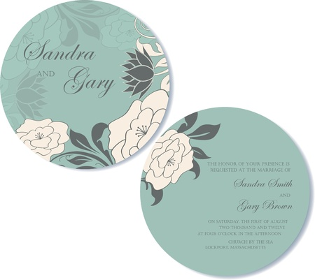 Round, double-sided floral wedding invitation  Vector