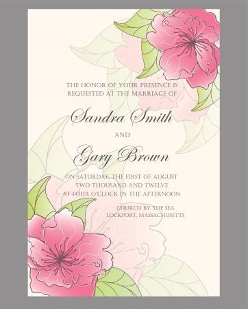 Beautiful floral wedding invitation illustration Vector