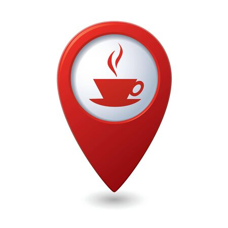 3d pointer: Map pointer with hot coffee cup icon  Vector illustration Illustration
