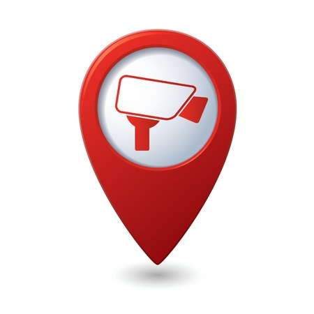 surveillance symbol: Map pointer with surveillance camera icon  illustration Illustration