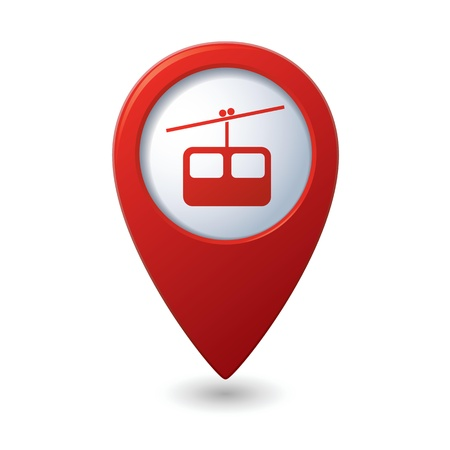 chairlift: Map pointer with chair lift icon illustration Illustration