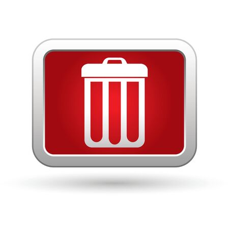 paper container: Trash can icon on the red with silver rectangular button  illustration