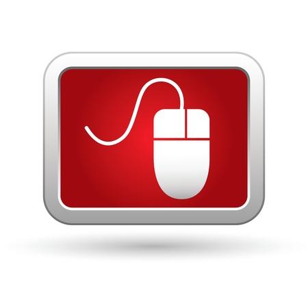 Computermuis icoon op de rood met zilveren rechthoekige knop afbeelding Stock Illustratie