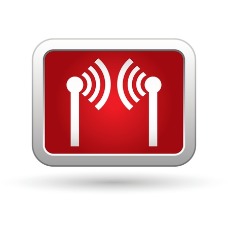 oftware: Wireless icon on the red with silver rectangular button  illustration