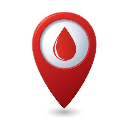 Map pointer with water drop icon illustration Ilustração