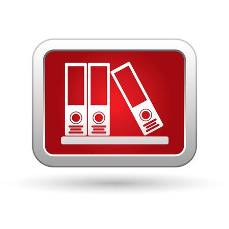 docs: Folders icon on the red with silver rectangular button  illustration