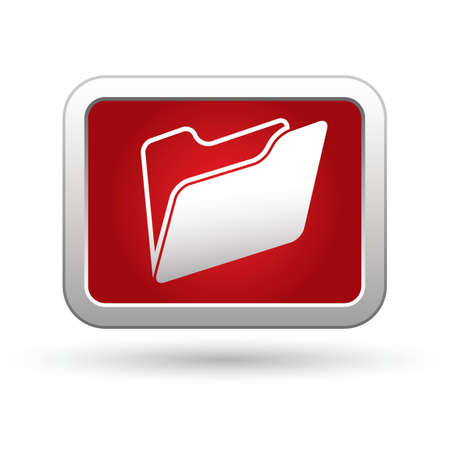 docs: Folder icon on the red with silver rectangular button  illustration