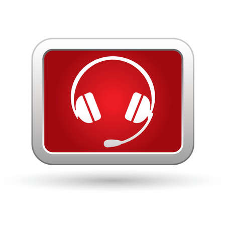 Headphones icon on the red with silver rectangular button  illustration Stock Vector - 18937000