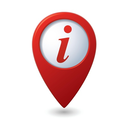 Map pointer with information icon illustration