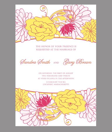 Floral wedding invitation illustration Vector