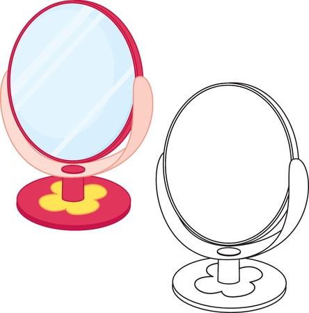 look in mirror: Mirror toy  Coloring book illustration  Illustration