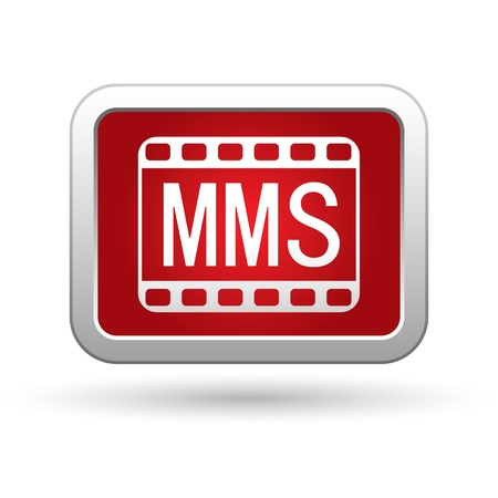 mms: MMS icon on the red with silver rectangular button   illustration Illustration