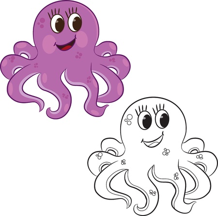 Cartoon octopus  Coloring book illustration  Иллюстрация