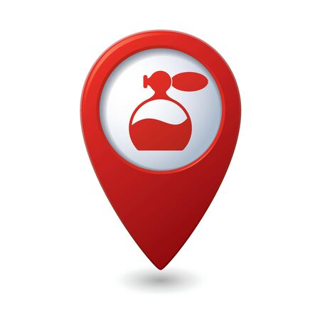 fragrant scents: Map pointer with perfume icon illustration Illustration