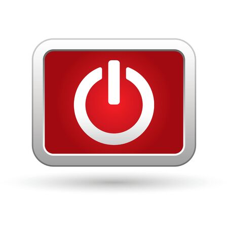 run off: Power icon on the red with silver rectangular button  illustration