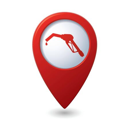 Map pointer with gas station icon illustration Stock Vector - 18937108