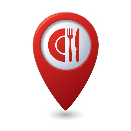 map pointer: Map pointer with restaurant icon illustration Illustration