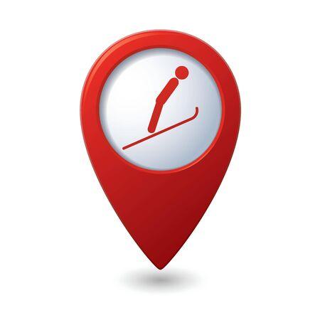 springboard: Mapa del puntero con el esqu� trampol�n icono ilustraci�n vectorial