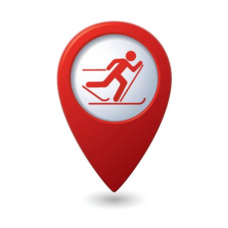 ski track: Map pointer with ski track icon  illustration Illustration