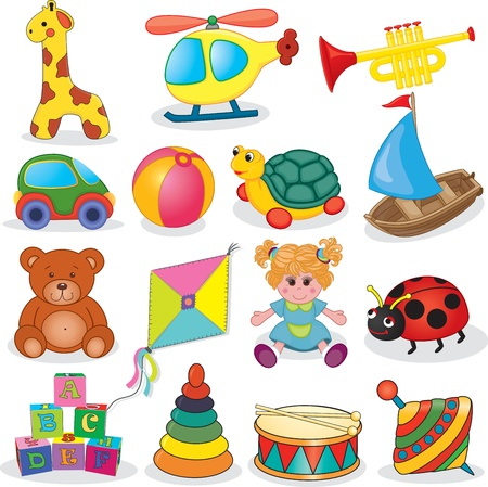 toy boat: Baby s toys set  illustration