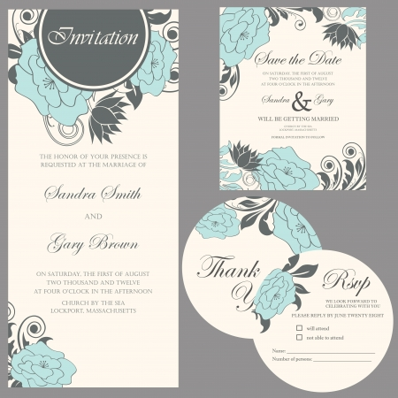 tarjeta de invitacion: De la invitación de la boda le agradece cardar, la tarjeta de fecha, tarjeta de RSVP Vectores