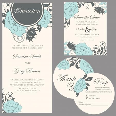 invitaci�n a fiesta: De la invitaci�n de la boda le agradece cardar, la tarjeta de fecha, tarjeta de RSVP Vectores
