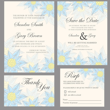 Wedding invitation set  thank you card, save the date card, RSVP card  Vector