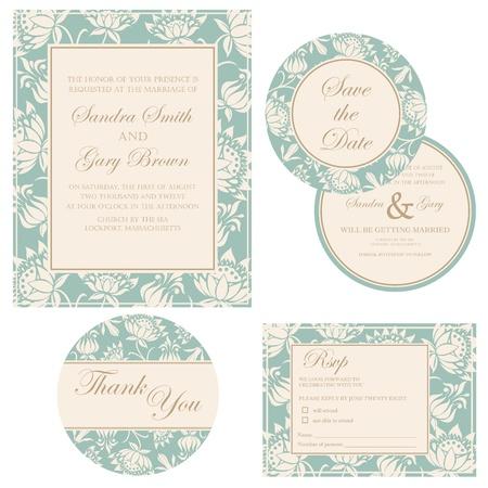 Huwelijksuitnodiging set dank je kaart, sparen de datum kaart, RSVP Stock Illustratie
