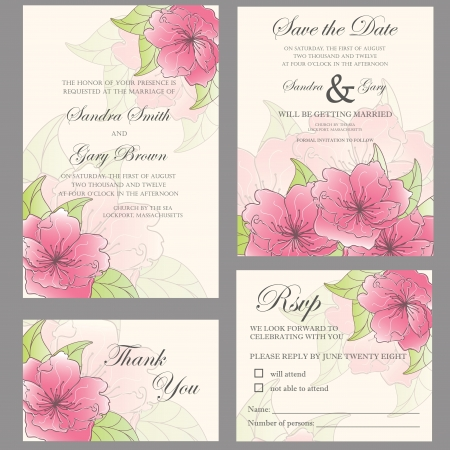 Wedding invitation set  wedding invitation, thank you card, save the date card, RSVP card  Vectores