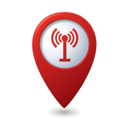 антенны: Карта указатель с беспроводной иконы иллюстрации Иллюстрация