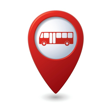 Map pointer with bus icon  Vector illustration Vectores