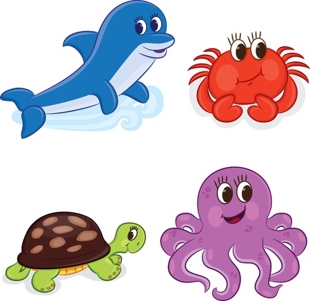 squid: Cartoon sea animals  Vector illustration Illustration