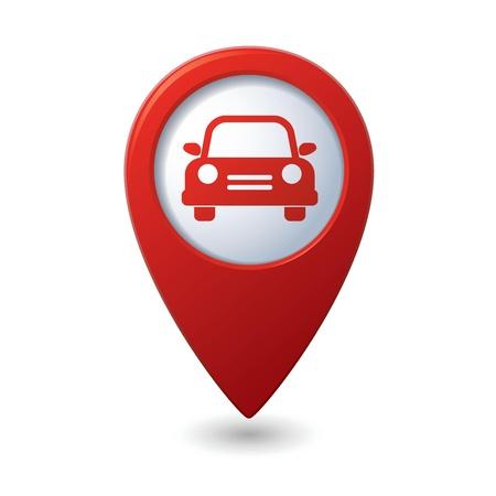 Kaartaanwijzer met auto pictogram Vector illustratie