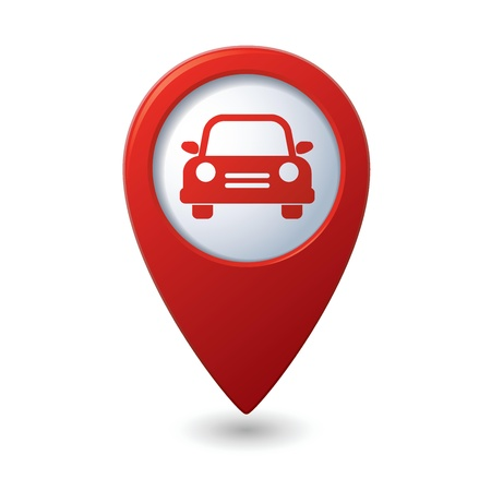 Map pointer with car icon  Vector illustration