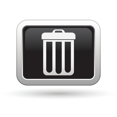 Trash can icon on the black with silver rectangular button Vector illustration