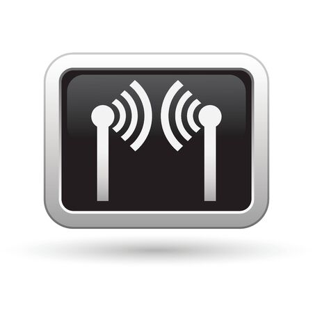 oftware: Wireless icon on the black with silver rectangular button  Vector illustration Illustration