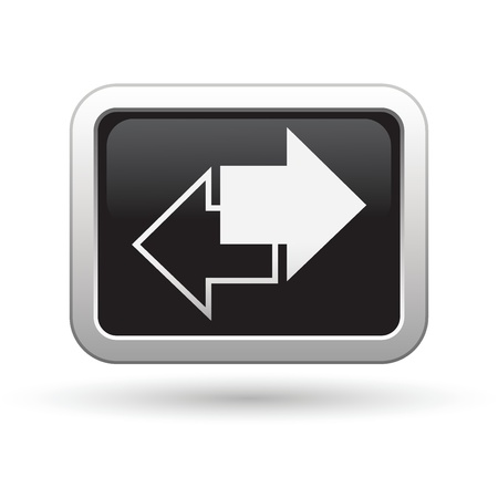 refresh button: Arrows icon on the black with silver rectangular button  Vector illustration