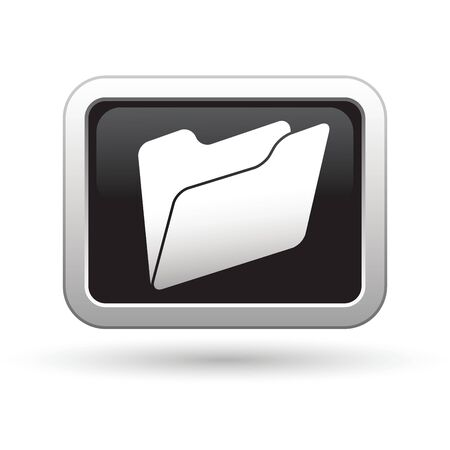 holder: Folder icon on the black with silver rectangular button  Vector illustration Illustration