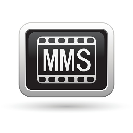 mms: MMS icon on the black with silver rectangular button  Vector illustration Illustration
