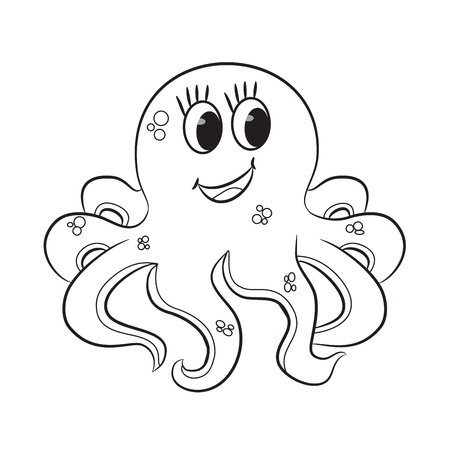 Cartoon octopus  Outlined  Vector illustration Фото со стока - 19704168