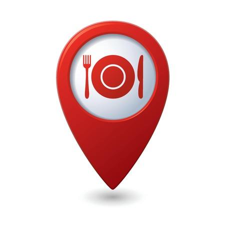 fork road: Mapa puntero con restaurante ic�nico Vector