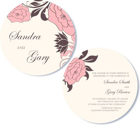 Round, double-sided vintage wedding invitation Stock Vector - 19704194