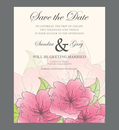 Beautiful floral wedding invitation  Vector illustration Stock Vector - 19704197