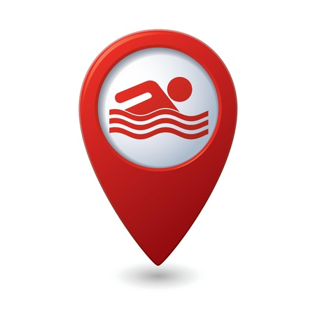 pool symbol: Map pointer with swimmer icon  Vector illustration Illustration