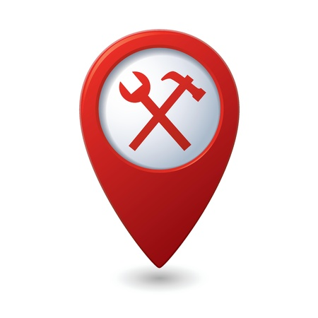 Map pointer with tools icon  Vector illustration