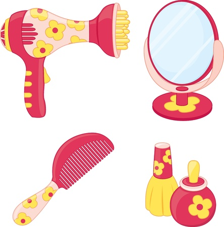 cartoon hairdresser: Toys set  Hairdresser  Vector illustration