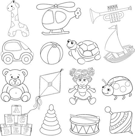 Baby s speelgoed set Geschetst Vectorillustratie