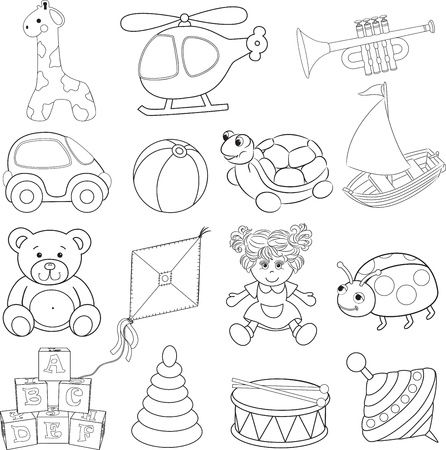Baby s toys set  Outlined  Vector illustration Vectores