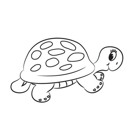 outline drawing: Cartoon tartaruga Delineato vettore Vettoriali