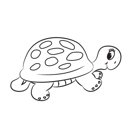 Cartoon turtle  Outlined  Vector illustration